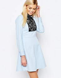 Sister Jane Electric Lily Dress With Jacquard Panel Blue
