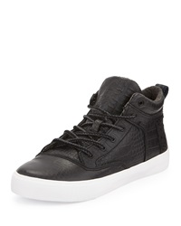 Camila Crocodile Embossed Leather High Top Sneaker Black Toms