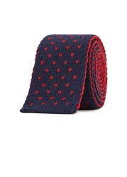 Lardini Two Tone Knitted Wool Tie Navy