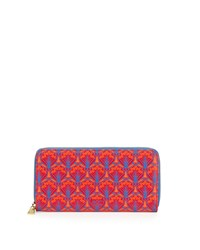 Large Printed Leather Zip Wallet Red Liberty London
