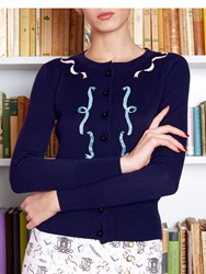 Olympia Le Tan Cardigan Haberdashery Ribbons Embroidered Blue
