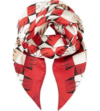 Aspinal Of London Marylebone Silk Scarf Berry