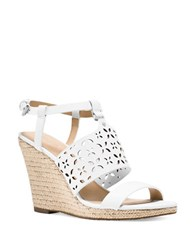 Michael Michael Kors Darci Leather Espadrille Wedge Sandals White