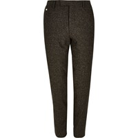 River Island Mens Brown Neppy Skinny Suit Trousers