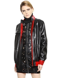 Anthony Vaccarello Patent And Nappa Leather Jacket Black