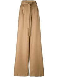 Msgm Wide Leg Pleat Front Trousers Brown