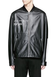Mcq By Alexander Mcqueen 'Haskins' Slogan Print Lambskin Leather Jacket Black