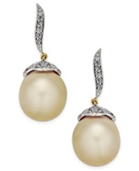 Macy's Cultured Oval Golden South Sea Pearl 11Mm And Diamond 3 8 Ct. T.W. Drop Earrings In 14K Gold Yellow