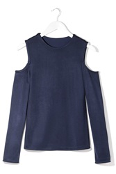 Luxe Cut Out Top By Boutique Navy Blue
