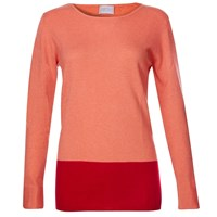 Orwell Austen Cashmere Orange And Red Colour Block Sweater Red Yellow Orange