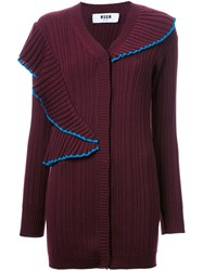 Msgm Oversized Ribbed Cardigan Red
