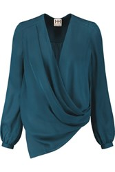 Haute Hippie Wrap Effect Silk Chiffon Top Petrol