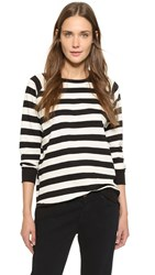 Edith A. Miller Boyfriend Baseball Tee Black Natural Wide Stripe
