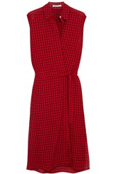 Alexander Wang T By Plaid Gauze Wrap Dress Red