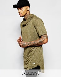 Granted Longline T Shirt With Cowl Neck Khaki