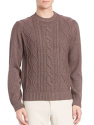 Saks Fifth Avenue Cable Knit Silk And Cashmere Sweater Blue Brown