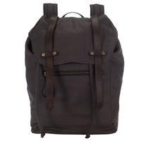 John Lewis And Co. Sao Paulo Canvas Leather Trim Backpack Charcoal