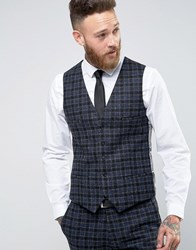 Noose And Monkey 100 Wool Overcheck Waistcoat In Skinny Fit Grey
