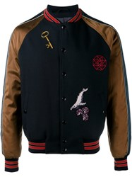Lanvin Patch Applique Varsity Jacket Blue