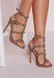 Missguided Studded Heeled Gladiator Sandals Taupe Grey