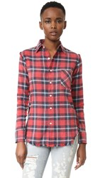R 13 Inside Out Slim Boy Shirt Red Plaid 8