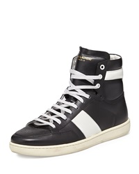 Saint Laurent Contrast Stripe Leather High Top Sneaker Black White