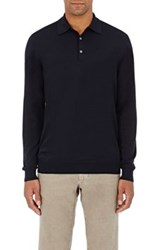 P Johnson Men's Merino Wool Long Sleeve Polo Shirt Navy