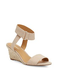 Nine West Riley Canvas Wedge Sandals Nude