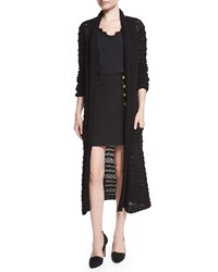 Nanette Lepore Long Sleeve Textured Duster Cardigan Black