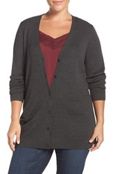 Sejour Plus Size Women's Ribbed V Neck Cardigan Grey Dark Charcoal Heather