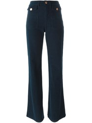 See By Chloe Corduroy Flared Trousers Blue