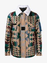 Valentino Virgin Wool Mohair Blend Navajo Jacket Multi Coloured White Brown Denim Cream