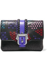 Paula Cademartori Sylvie Laser Cut And Woven Leather Clutch Black