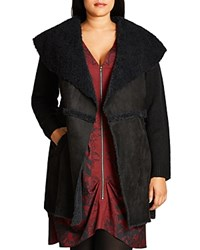 City Chic Faux Shearling Sweater Coat Black