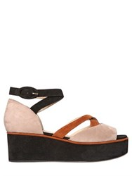Paul Andrew 60Mm Noho Suede Open Toe Wedge Sandals