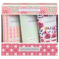 Heathcote And Ivory Vintage Vintage Fabric And Flowers Mini Hand Creams 3 X 30Ml