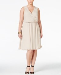 Love Squared Trendy Plus Size Faux Wrap Fit And Flare Dress Stone