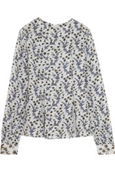 Suno Printed Silk Crepe De Chine Top Light Gray