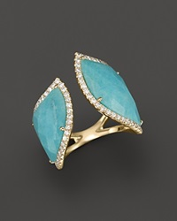 Meira T 14K Yellow Gold Amazonite Double Open Curve Ring Blue