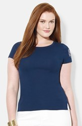 Lauren Ralph Lauren Plus Size Women's Cotton Stripe Pocket Tee