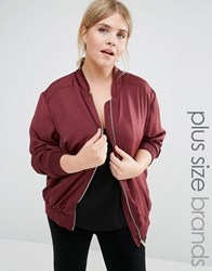 New Look Plus Sateen Bomber Burgundy Red