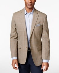 Tasso Elba Men's Khaki Houndstooth Classic Fit Sport Coat Only At Macy's