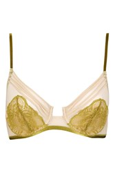 Topshop Lace And Mesh Underwire Bra Chartreuse