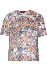 Opening Ceremony Sequin Girl Printed Satin Top Multi