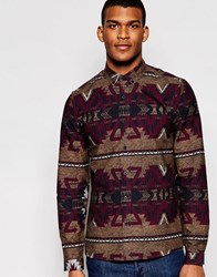 Asos Shirt In Camel With Tribal Print And Long Sleeves Camel Brown