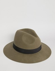 Asos Fedora In Olive Olive Green