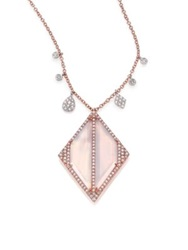 Meira T Chalcedony Mother Of Pearl Diamond And 14K Rose Gold Geometric Doublet Pendant Necklace