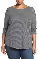 Sejour Plus Size Women's Stripe Ballet Neck Long Sleeve Tee