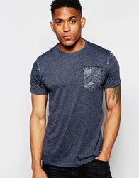 Firetrap Marl Crew Neck T Shirt With Pocket Navy