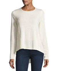 Marled By Reunited Lace Trim Crepe Panel Sweater Ivory